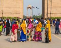 Frauen, die Waren in Delhi verkaufen Lizenzfreie Stockbilder