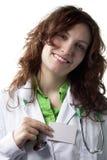 Frauen-Doktor mit Abzeichen Stockfotos