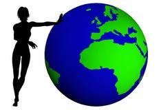 Frauen drücken die Welt Stockbilder