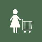 Frauen-Einkauf Flache Ikone Stock Abbildung