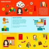 Frauen-Einkaufsfahne Stockfotos
