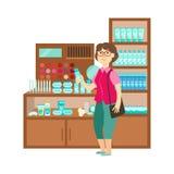 Frauen-Einkaufskosmetik-, -Einkaufszentrum-und -Kaufhaus-Abschnitt-Illustration Lizenzfreie Stockfotografie