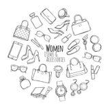 Frauen-Einzelteile und Zubehör Sammlung Sachen stock abbildung