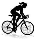 Frauen-Fahrrad-Radfahrer-Reitfahrrad-Schattenbild lizenzfreie abbildung