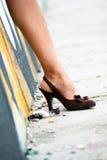 Frauen-Fahrwerkbein Stockfoto