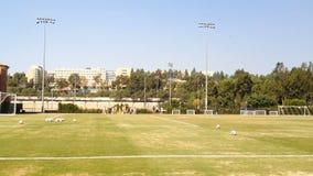 Frauen-Fußball-Spieler auf Feld vom Abstands-Aufwärmen stock footage