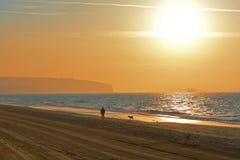 Frauen-gehender Hund bei Sonnenaufgang Lizenzfreies Stockfoto
