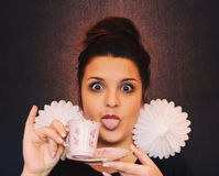 Frauen-Gesicht Grimase stockfotografie