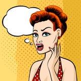 Frauen-Gesicht mit Sprache-Blase Stockbild