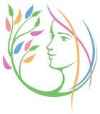 Frauen-Gesichts-Natur-Logo lizenzfreie abbildung