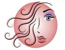 Frauen-Gesichts-Web-Zeichen oder Ikone vektor abbildung