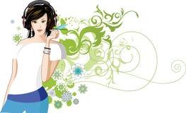 Frauen hört Musik. Lizenzfreie Stockfotografie