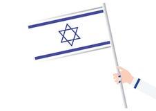 Frauen-Hand, die eine israelische Flagge hält lizenzfreie abbildung