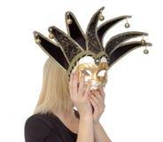 Frauen hinter der Karnevalsschablone Lizenzfreies Stockfoto