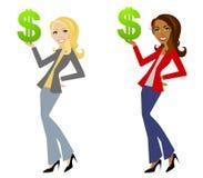 Frauen-Holding-Dollar-Zeichen vektor abbildung