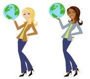 Frauen-Holding-Erde lizenzfreie abbildung