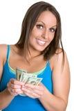 Frauen-Holding-Geld Stockbild