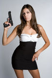 Frauen-Holding-Gewehr Stockfotos