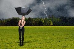 Frauen-Holding-Regenschirm Stockbilder