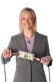 Frauen-HoldingDollarschein mit Überbrücker-Seilzügen stockbild