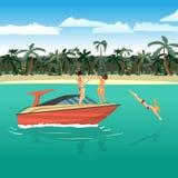 Frauen im Bikinireiten auf einem Motorboot um einen tropischen Strand stock abbildung