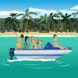 Frauen im Bikinireiten auf einem Motorboot um einen tropischen Strand lizenzfreie abbildung