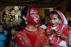 Frauen im Durga Festival Lizenzfreie Stockbilder