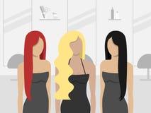 Frauen im Friseursalon Auch im corel abgehobenen Betrag lizenzfreie abbildung