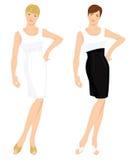 Frauen im unterschiedlichen weißen Cocktailkleid Lizenzfreie Stockbilder