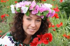 Frauen im Wreath Lizenzfreies Stockfoto