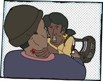 Frauen-kämpfender Angreifer vektor abbildung