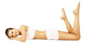 Frauen-Körper-Schönheits-Modell White Underwear Lying Stockfoto