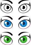 Frauen-Karikatur-Augen Getrennt auf Weiß Lizenzfreies Stockfoto