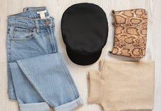 Frauen-Kleidungs-Collage Mode Blogger-Betriebsmittel Fahrwerkbeine und Frauenbeutel auf weißem Hintergrund Mode-gesetzte Ausstatt stockbild