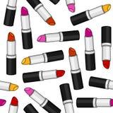 Frauen-Lippenstift-nahtloses Muster Stockfotografie