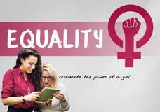 Frauen-Mädchen-Energie-Feminismus-Chancengleichheits-Konzept lizenzfreie stockfotografie
