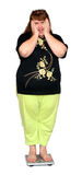 Frauen mit Übergewicht auf Skalen Stockfotografie