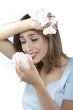 Frauen mit Allergien Stockfotografie