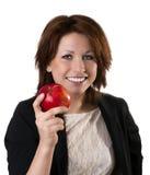 Frauen mit Apfel Stockfotografie
