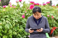 Frauen mit beweglichem Internet im Park Stockfotos