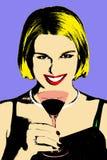 Frauen mit coctail Glas in der Herausspringenkunst Stockfoto