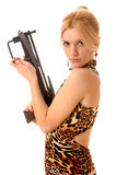 Frauen mit Crossbow Stockfoto