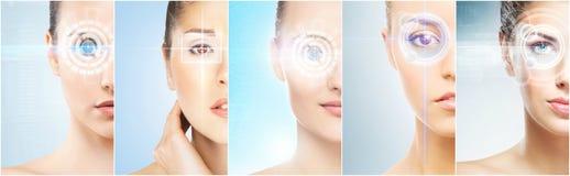 Frauen mit einem digitalen Laser-Hologramm auf Augencollage Augenheilkunde-, Augenoperations- und Identitätsscannentechnologiekon stockfotografie