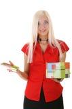 Frauen mit Geschenk Stockbild