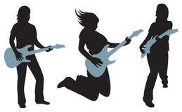 Frauen mit Gitarrenschattenbildern auf Weiß Lizenzfreie Stockfotografie