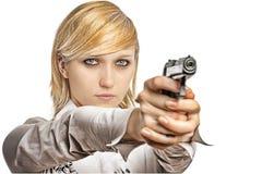Frauen mit Pistole Stockbild