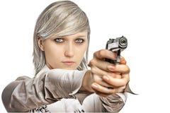 Frauen mit Pistole Stockfotos