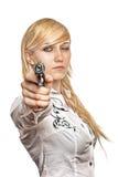Frauen mit Pistole Lizenzfreies Stockfoto
