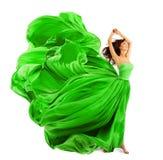 Frauen-Mode-Kleid, Seidengewebe-Stoff-Fliegen-Welle über Weiß stockbilder