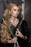Frauen-Mode-Schönheits-Porträt, vorbildliches Girl Hairstyle, blondes Haar Lizenzfreies Stockbild